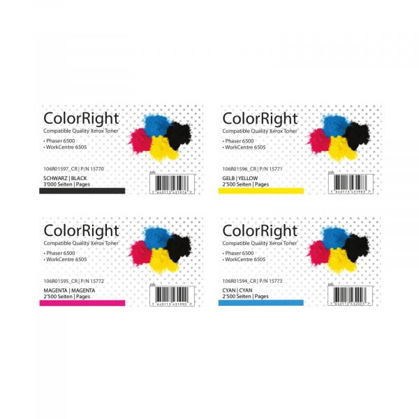 ColorRight Toner Satz High Capacity CMYK Xerox WorkCentre 6505 & Phaser 6500